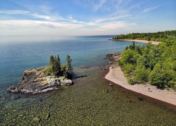 The Lakewalk section of the Superior Hiking Trail north of Grand Marais is the only section of trail that runs along the shore of Lake Superior outsid