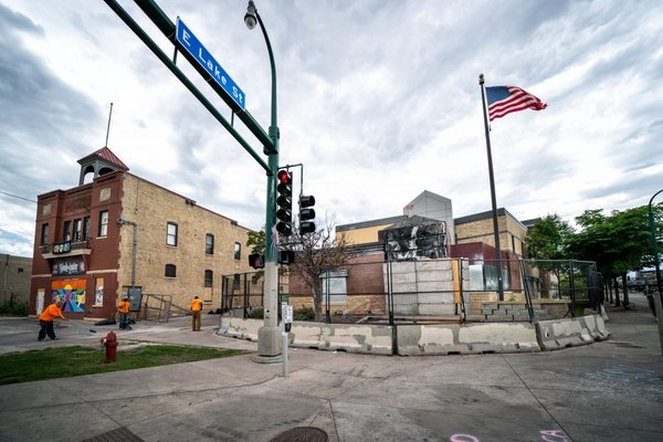 The burned out Third Precinct at the corner of E. Lake Street and Minnehaha Avenue in Minneapolis, seen on July 16. Voters could face competing ballot