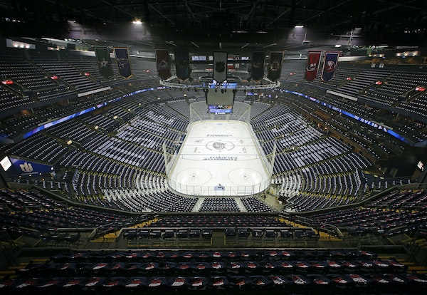 This photo of an empty Nationwide Arena, taken prior to Game 6 of the Stanley Cup playoffs series against the Bruins last May, will likely resemble wh