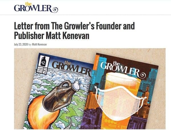 A screenshot of the Growler's website.