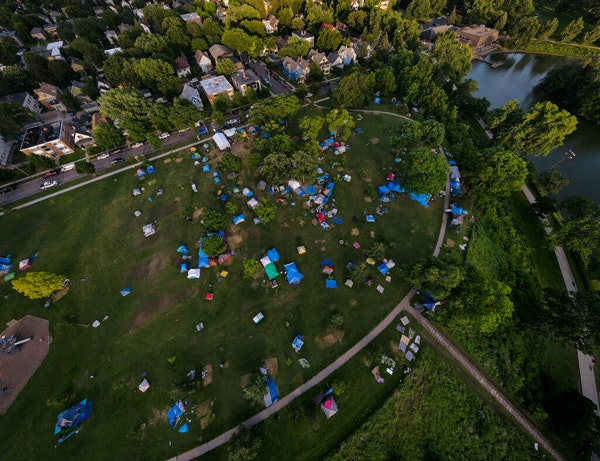 The number of tents in Minneapolis' Powderhorn Park — photographed Tuesday — has shrunk from 560 tents last week to 310.