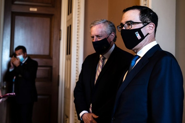 Mark Meadows, left, and Steven Mnuchin are working to put together a new stimulus bill.
