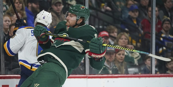 Marcus Foligno was leading the Wild in hits with 184 when the NHL season came to a halt in March. He also had 11 goals and 14 assists in 59 games.