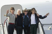 FILE - In this March 24, 2016 file photo, members of The Rolling Stones, from left, Mick Jagger, Charlie Watts, Keith Richards and Ron Wood pose for p
