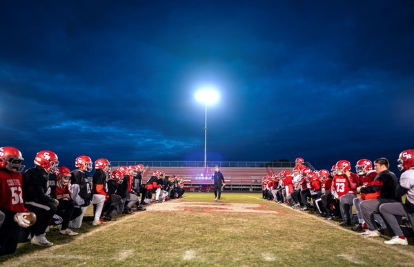 Coon Rapids coach Nick Rusin talked to his team after a practice last fall in preparation for its first state tournament appearance since 1983.