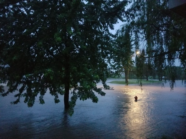 Flood waters overtook the intersection of 12th and Florence Street in Baldwin, Wis. in the early hours of June 29.