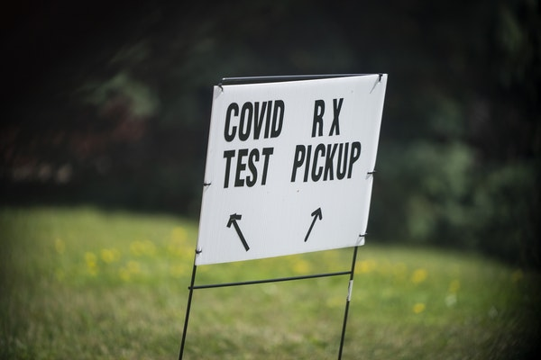 A sign at the COVID-19 self-administered testing site, which took place at the pharmacy pick-up window at the CVS Pharmacy in Little Canada.
