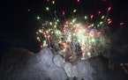Fireworks lit the sky at Mount Rushmore National Memorial, Friday, July 3, 2020, near Keystone, S.D.