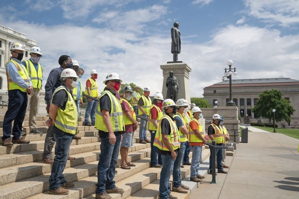 The Minnesota Building and Construction Trades Council held a news conference on Tuesday, July 21 at the State Capitol's Upper Mall in St. Paul, Minn.