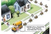 Sack cartoon: Social distance learning curve