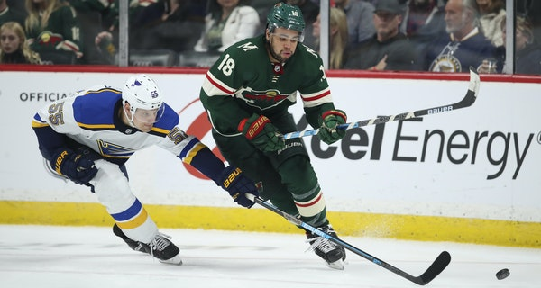 A poke check didn't slow the Wild's Jordan Greenway, as the Blues' Colton Parayko found in February.