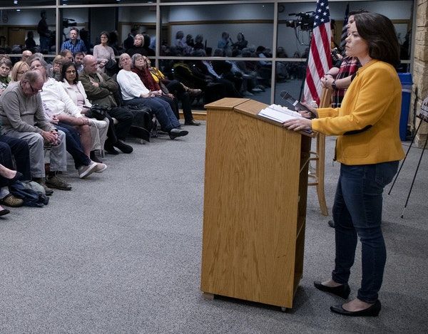 U.S. Second District Rep. Angie Craig listened to a question during a town hall last fall at the Eagan Community Center.