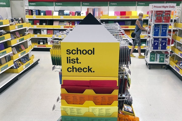 Back-to-school supplies await shoppers at a store on July 11.