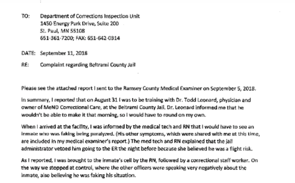 Read the complaint letters filed after Beltrami County Jail inmate's death