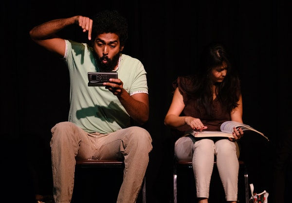 """Gautham Raja and Sonal Raval in """"Crushed,"""" one of several works at the Fringe centering on the immigrant experience. Vishwanath Somashekar"""