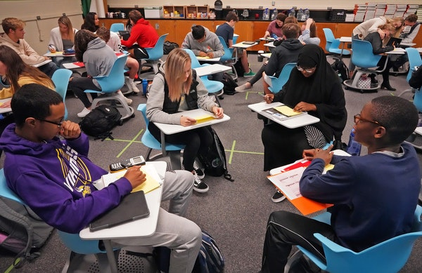 A pre-calculus class at Apple Valley High School. Teachers said they were most concerned about building relationships with students and wanted to do t