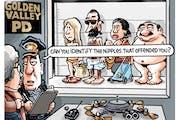 Sack cartoon: Police lineup, toplessness edition