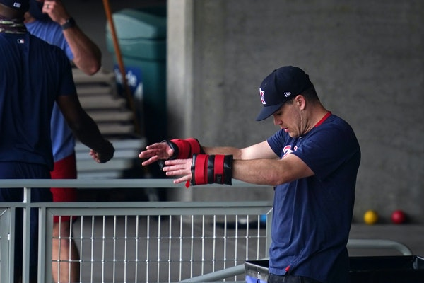 Twins reliever Trevor May worked out with weights in the Target Field concourse ahead of practice Friday. The righthander is coming off a career-low E