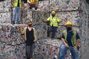 Safety remains a priority for Eureka Recycling, said Lynn Hoffman, bottom left, with (clockwise from top) Fabio Dierings, Ranson Reyes, Marcela Ramire