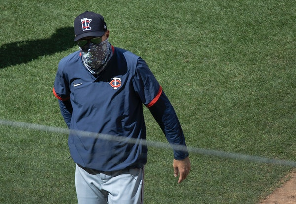 Twins manager Rocco Baldelli at the end of the intrasquad game at Target Field.