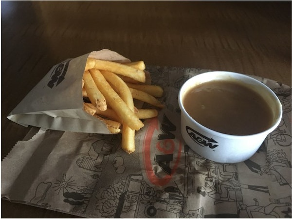 Fries, gravy and ketchup a treat on Day 5 of Canadian quarantine