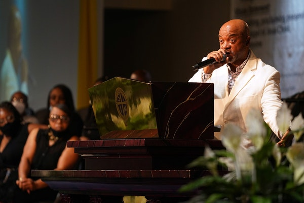 The Rev. Jerry McAfee preached during a community memorial for George Floyd at the Shiloh Temple International Ministries in north Minneapolis.
