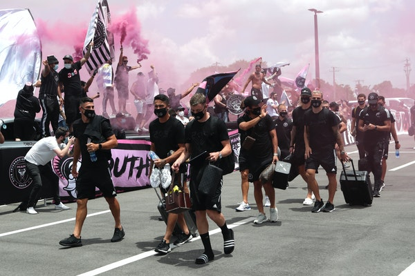 Inter Miami CF soccer players were greeted by fans as left leave their stadium in Fort Lauderdale, Fla., for an MLS tournament in Orlando on Wednesday