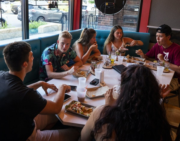 A group of Minnesota State University, Mankato students enjoyed time at the 507 in downtown Mankato.