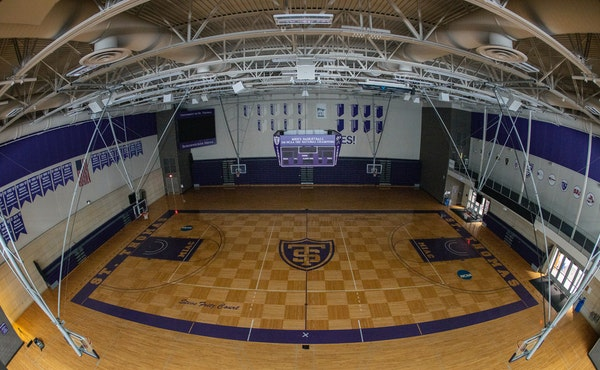 The basketball court at the Anderson Athletic & Recreation Complex at the University of St. Thomas.