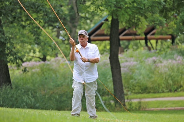 Bob Nasby casted a 16-foot fly rod built in Scotland in the 1880s. Nasby orders such rods from Scotland, then reconditions them.