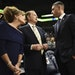 Timberwolves owner Glen Taylor and his wife, Becky, talked to coach Ryan Saunders before taking their usual seats in March 2019 at Target Center.