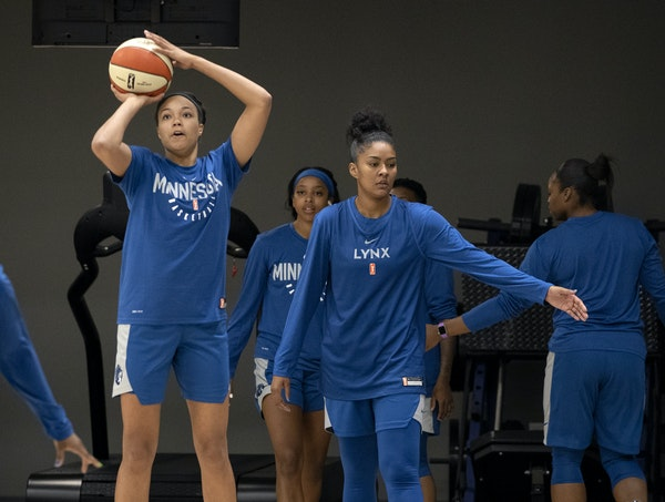 Lynx rookie Napheesa Collier, left, is trying to adjust her stroke after struggling with her outside shooting as a senior at UConn.