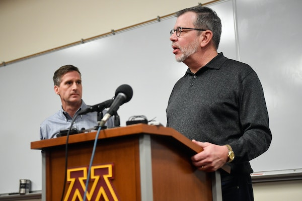 University of Minnesota President Eric Kaler, right, and athletic director Mark Coyle have been behind some big-ticket decisions that shows the school
