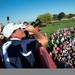 Phil Mickelson drinks from a bottle of champagne while celebrating Team USA's Ryder Cup victory over Europe in 2016.