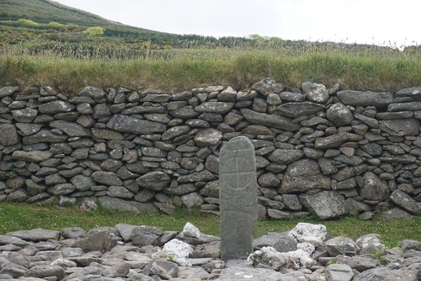 An Ogham stone at the Gallarus Oratory