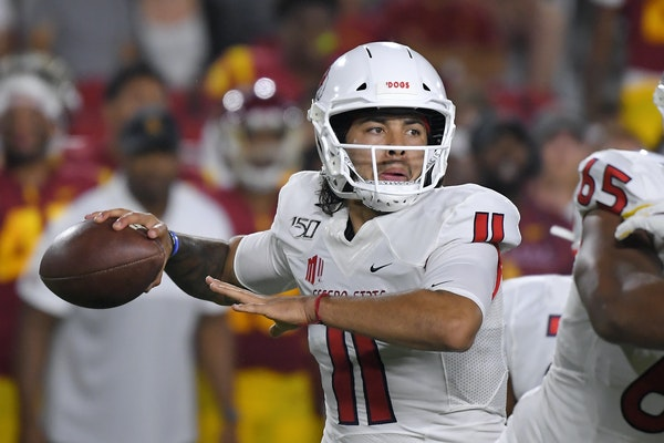 Fresno State quarterback Jorge Reyna attempted a pass in last week's 31-23 loss at USC.
