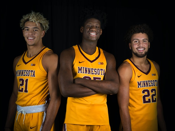 Minnesota grown sophomores, from left, Jarvis Omersa, Daniel Oturu, and Gabe Kalscheur posed for a photo last season.