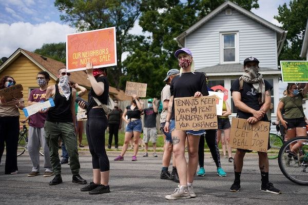 Renters and community members protested in August against efforts to end the state's eviction moratorium. Small landlords say they are growing more ec