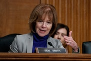 """Sen. Tina Smith's campaign unearthed old TV footage of Lewis questioning government crop subsidies and declaring, """"Government shouldn't have any"""