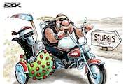 Sack cartoon: Heading to Sturgis ...