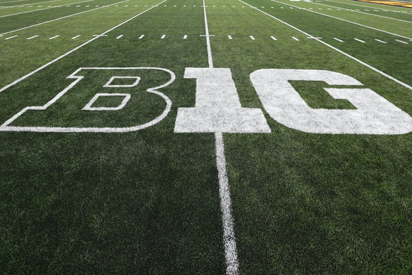 The Big Ten logo is displayed on the field before a game between Iowa and Miami of Ohio in Iowa City