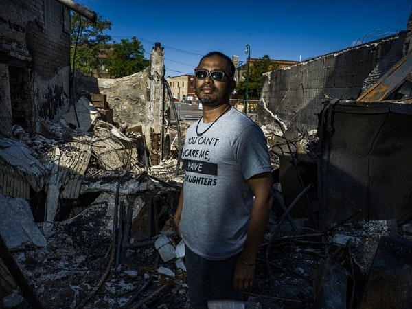 """Ruhel Islam, the owner of Gandhi Mahal who said """"let my building burn, justice needs to be served."""" He plans to rebuild on the original site.] RICHARD"""