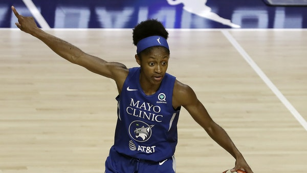 Minnesota Lynx guard Crystal Dangerfield (2) during the first half of a WNBA basketball game against the Chicago Sky Thursday, July 30, 2020, in Brade