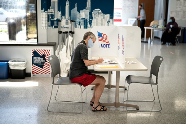 Nancy Gossell voted early in the Minneapolis Early Vote Center.