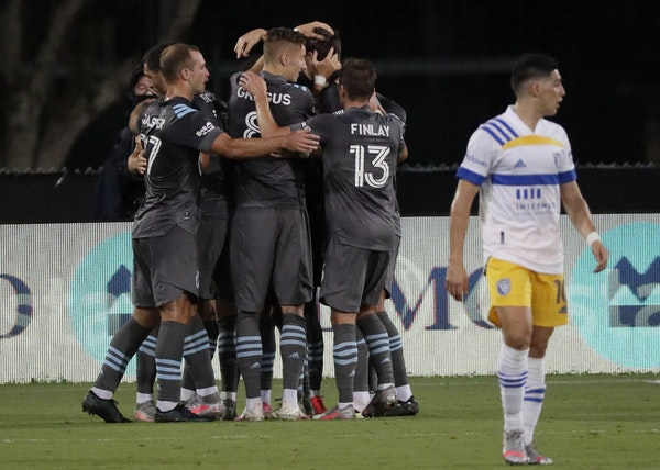 The Loons gathered to celebrate a goal during the MLS is Back Tournament, where they lasted until they were ousted by Orlando City in the semifinals T