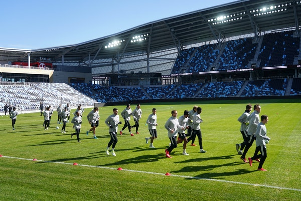 Minnesota United players ran across Allianz Field during a practice on March 10, just a few days before the MLS regular season was put on hold by the