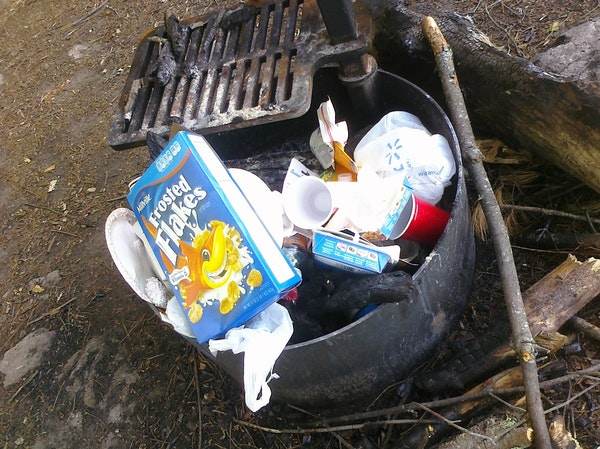 Some of the trash left over at a campsite in Voyageurs National Park.