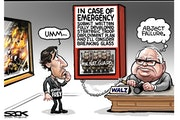 Sack cartoon: What happened that night between Gov. Walz and Mayor Frey