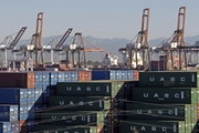Shown is a 2015 photo of the Port of Los Angeles, one of the key cargo destinations in the U.S.