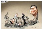 Sack cartoon: China's stranglehold